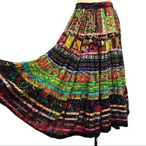 TRAVELSMITH Long Boho Floral Maxi Colorful SKIRT M